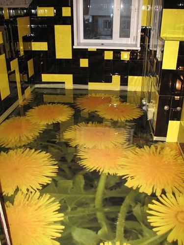 Дизайнеры с огромным энтузиазмом относятся к применению в оформлении интерьеров полимерного наливного покрытия с эффектом 3d