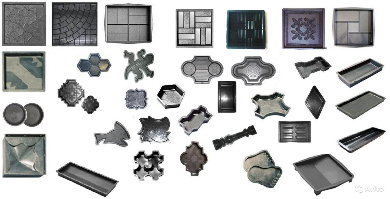 Различные пластковые формы для плитки