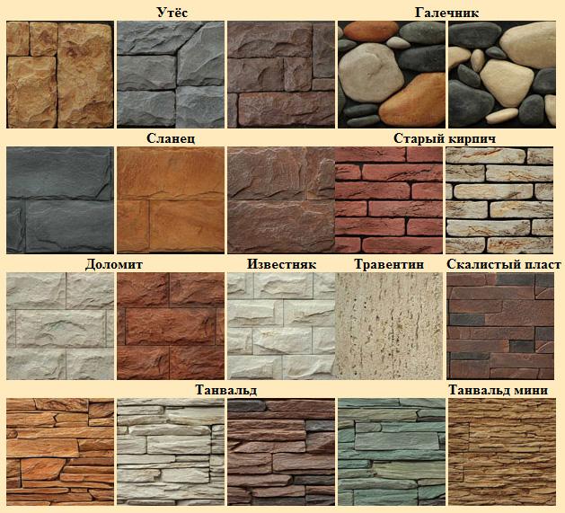 Виды и типы различных форм камня