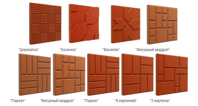 Различная фактура и формы полимерной плитки